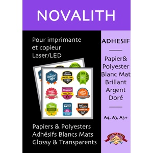Film Polyester Laser Blanc Brillant Adhesif 150 µ<br>Format : A4 (100 feuilles)